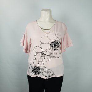 Ricki's pink Flower Print Top Size XL